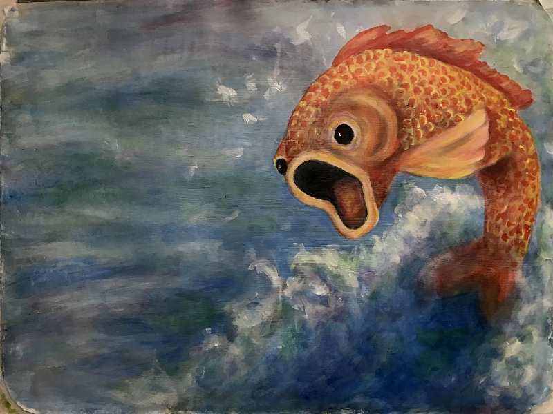 Fish is startled right out of the water when seeing the caterpillar face - OH! - Cie Full Circle & Cie Contrepoint